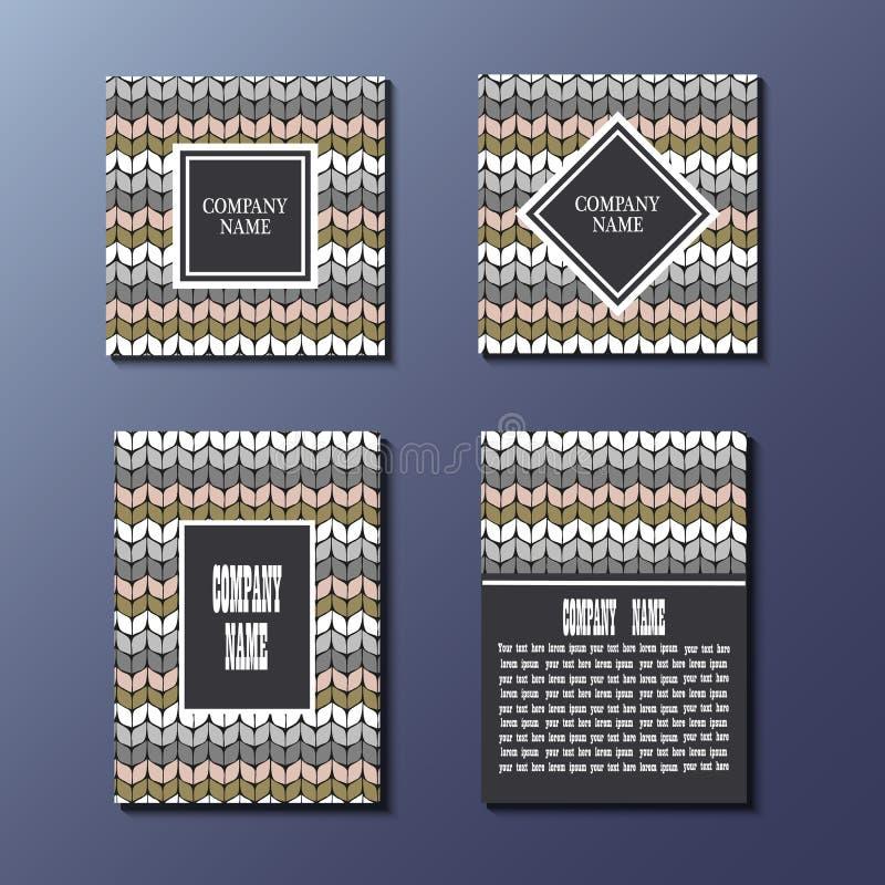 Reeks van Vliegermalplaatje met het breien van patroon vector illustratie