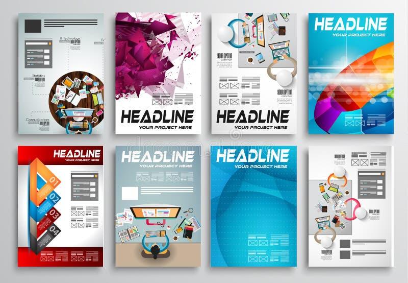 Reeks van Vliegerontwerp, Infographic-lay-out Brochureontwerpen vector illustratie