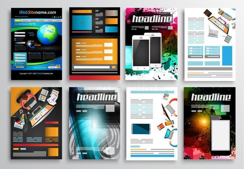 Reeks van Vliegerontwerp, Infographic-Malplaatjes Brochureontwerpen stock illustratie