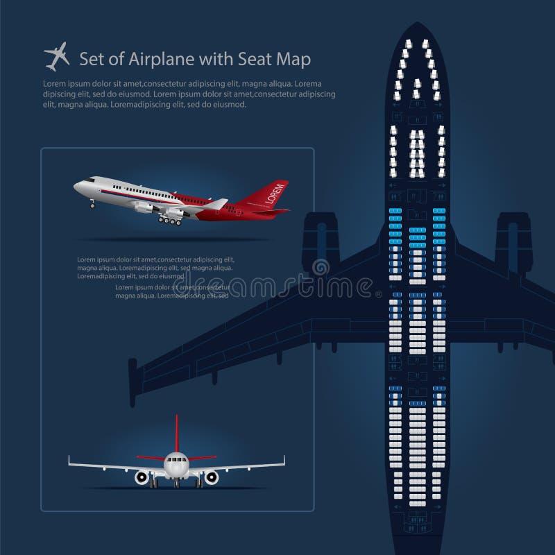 Reeks van Vliegtuig met Seat-Kaart vector illustratie