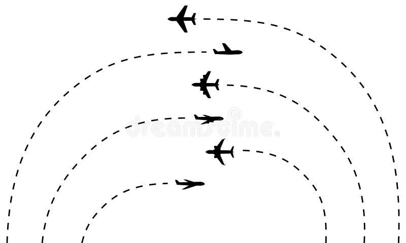 Reeks van vliegtuigpictogrammen en hun sporen vector illustratie