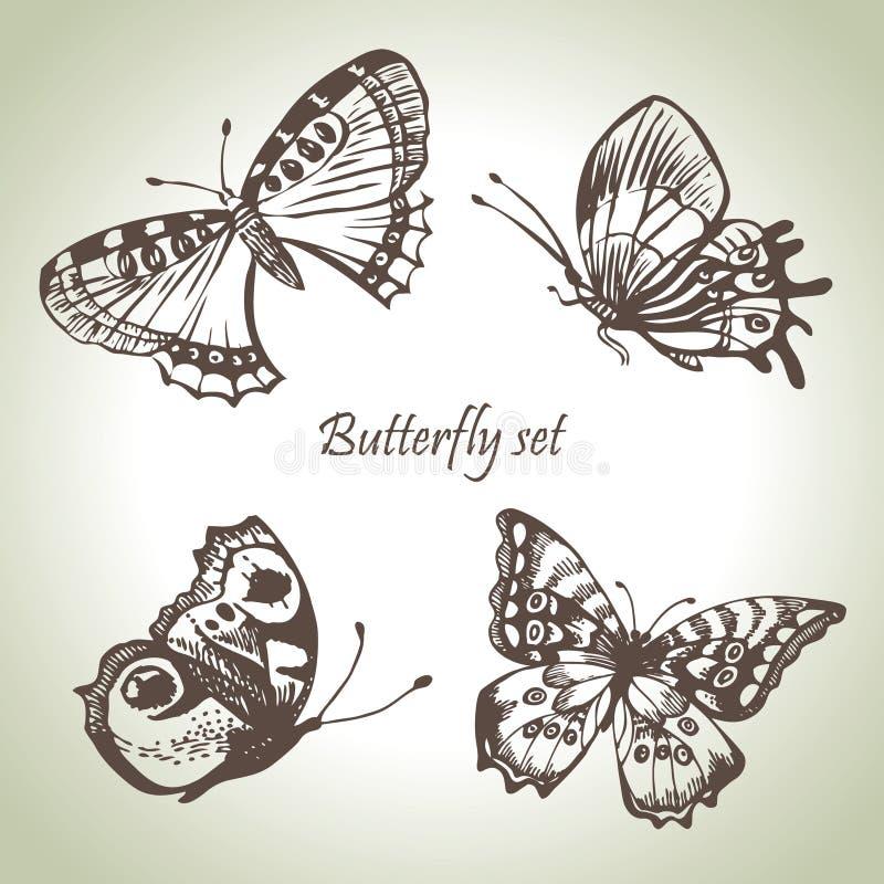 Reeks van vlinder stock illustratie