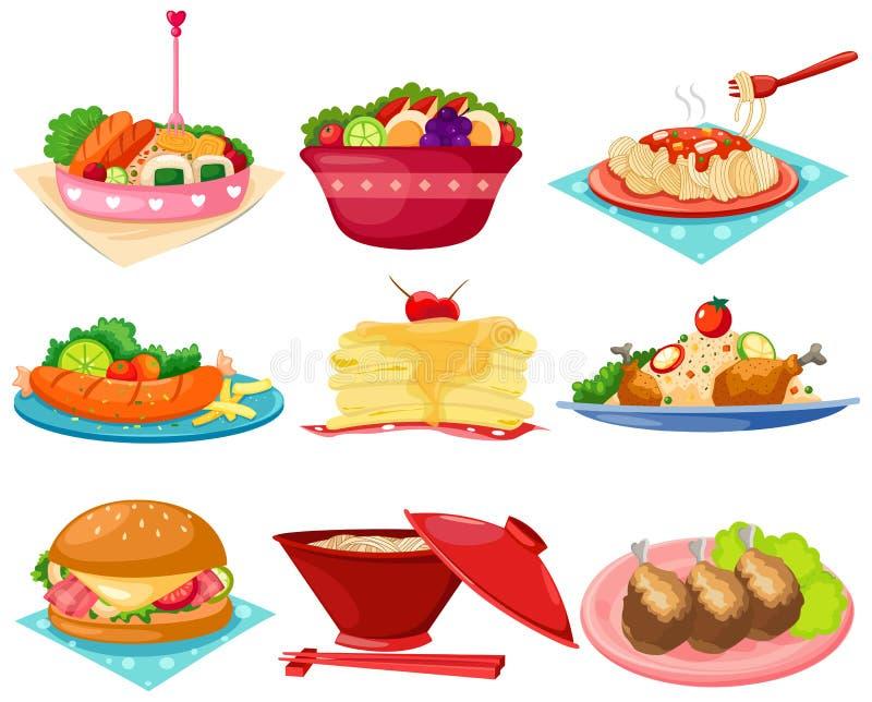 Reeks van voedsel royalty-vrije illustratie