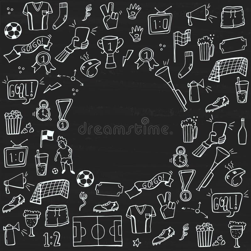 Reeks van voetbal, sport, de krabbels van het voetbalpictogram op bord Geschetste getrokken hand Vector illustratie vector illustratie