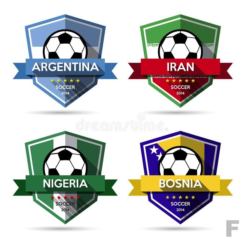 Reeks van voetbal (voetbal) kenteken royalty-vrije illustratie