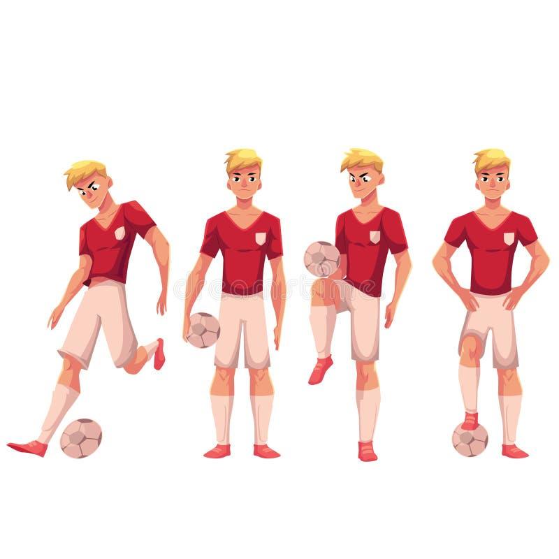 Reeks van voetbal, voetbalster in verschillende posities met bal stock illustratie