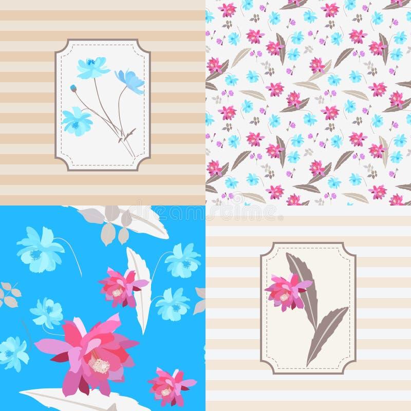 Reeks van voor de aanpassing van naadloos bloemen en gestreept patroon met Mexicaanse installaties - de kosmos en epiphillum bloe royalty-vrije illustratie