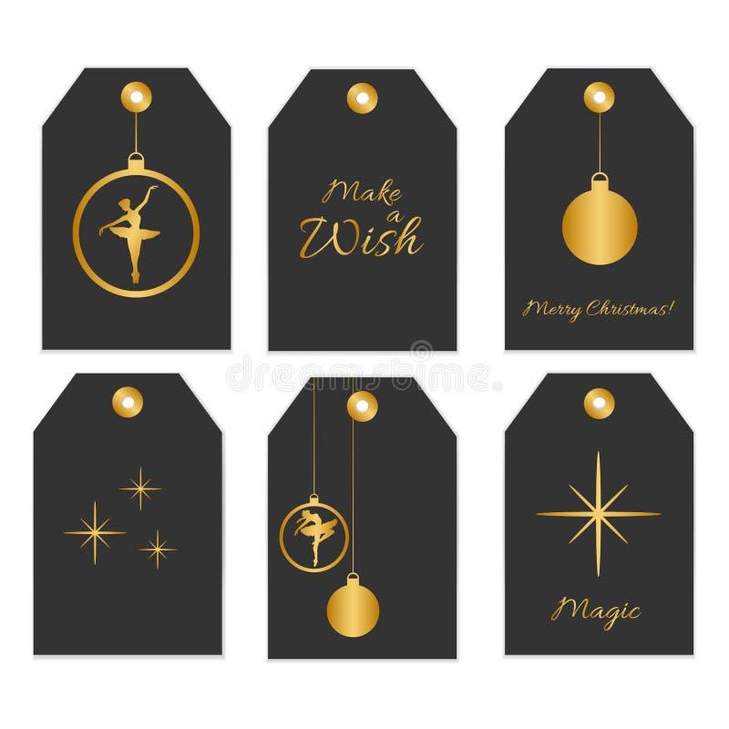 Reeks van 6 voor het drukken geschikte etiketten in zwarte en gouden kleuren stock illustratie