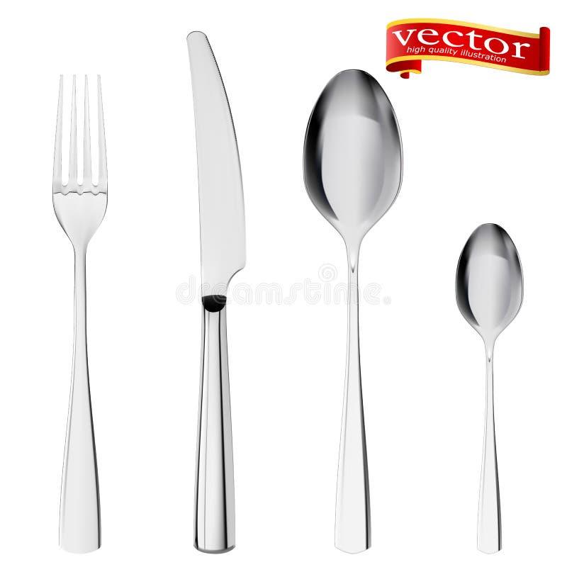 Reeks van vork, mes en lepel op wit wordt geïsoleerd dat Besteklepel, vork, hoge detail van de messen het vectorillustratie royalty-vrije illustratie