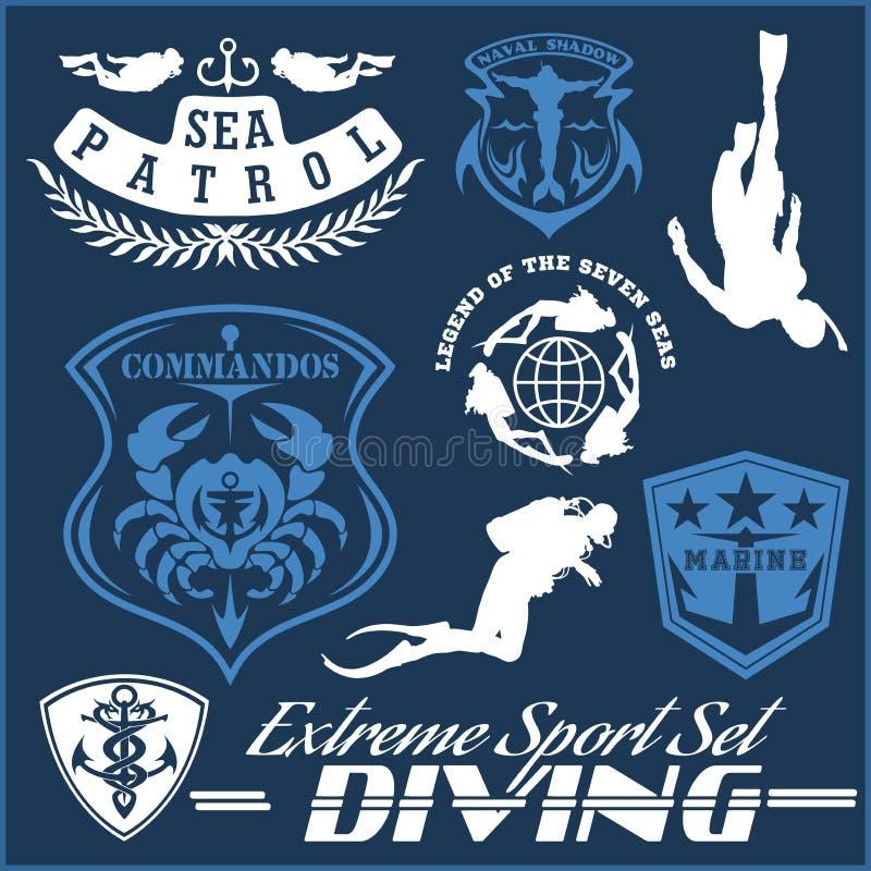 Reeks van Vrij duikenclub en het duiken schoolontwerp vectordieillustratie op blauw wordt geïsoleerd stock illustratie