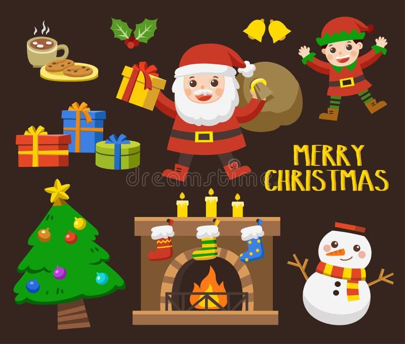 Reeks van Vrolijke Kerstmis en Gelukkig Nieuwjaar vector illustratie