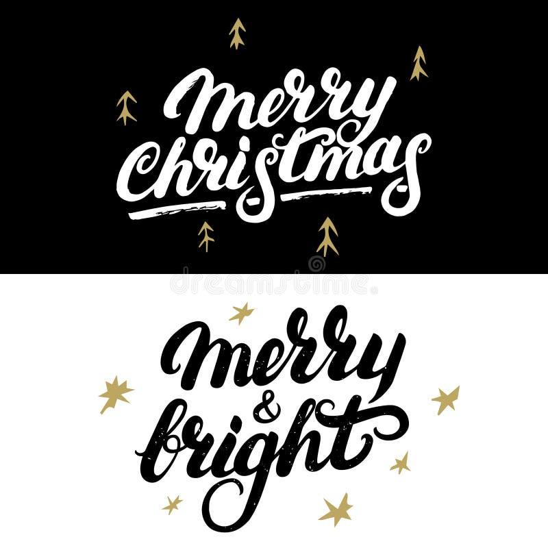 Reeks van Vrolijke Kerstmis en Vrolijke en Heldere hand geschreven het van letters voorzien vector illustratie