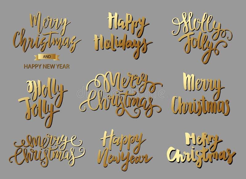 Reeks van Vrolijke Kerstmisteksten, hand het getrokken van letters voorzien en het Gelukkige ontwerp van de Nieuwjaartypografie stock illustratie