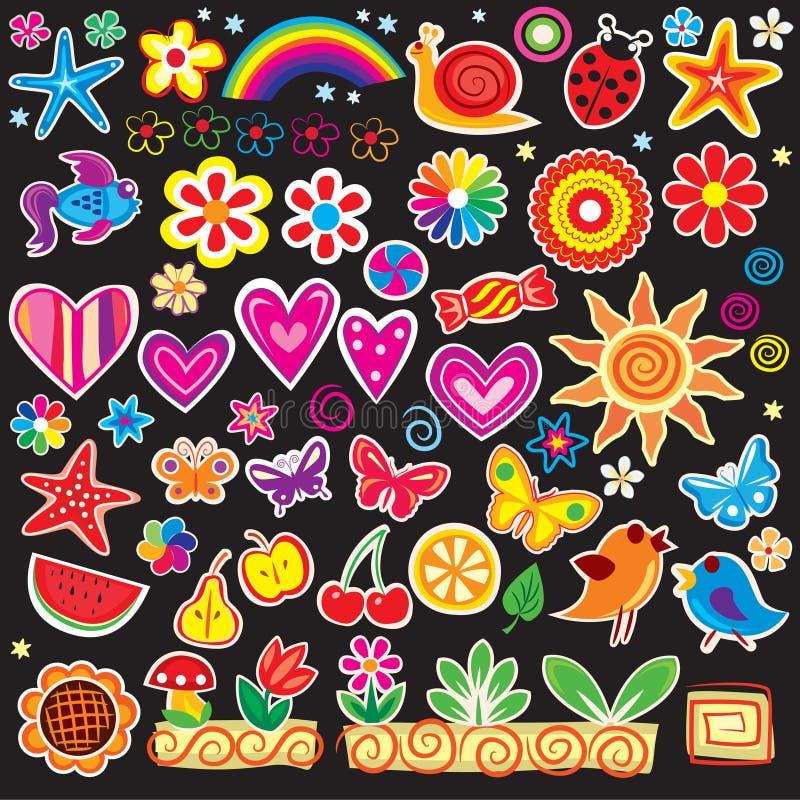 Reeks van vrolijke sticker stock illustratie