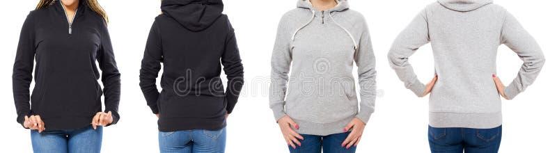 Reeks van vrouwelijke die hoodiespot omhoog over witte achtergrond wordt geïsoleerd stock foto