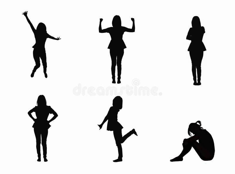 Reeks van vrouwen aantrekkelijk die lichaam op witte achtergrond wordt geïsoleerd royalty-vrije stock foto's