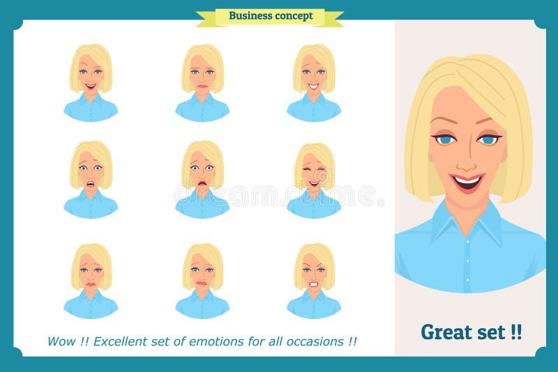 Reeks van vrouwenuitdrukking op wit wordt geïsoleerd dat Leuk blonde emotioneel vrouwelijk hoofd vector boos gezichtsmeisje, schr stock illustratie