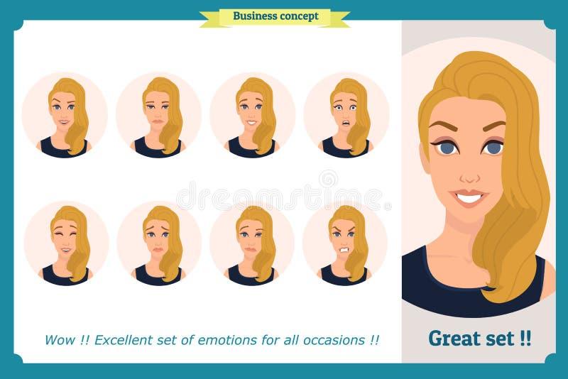 Reeks van vrouwenuitdrukking op wit wordt geïsoleerd dat Leuk blonde emotioneel vrouwelijk hoofd vector boos gezichtsmeisje, schr vector illustratie