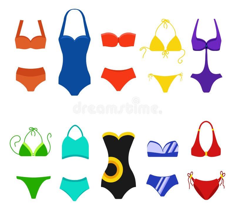 Reeks van vrouwenzwempak op witte achtergrond wordt geïsoleerd die Bikinibadpakken voor het zwemmen Manierbikini, tankini en royalty-vrije illustratie