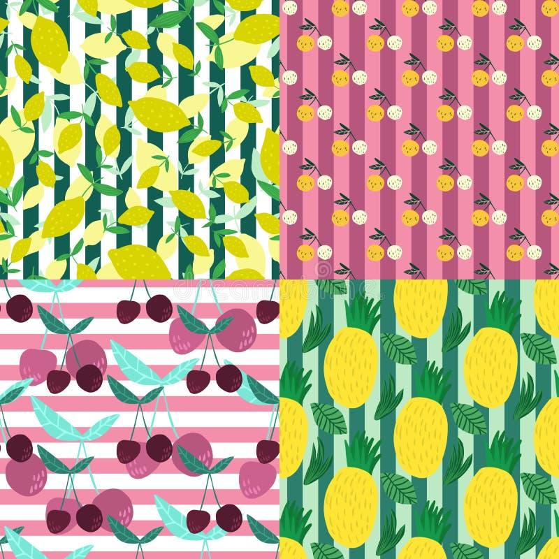 Reeks van vruchten naadloos patroon op strepenachtergrond vector illustratie