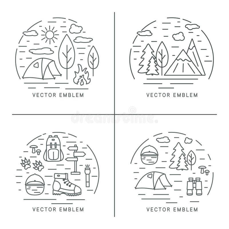 Reeks van wandelings lineair concept Cirkelsamenstellingen voor trekking, toerisme en reizenontwerp vector illustratie