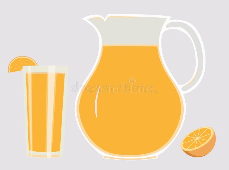 Reeks van waterkruik en glas met het verfrissen van jus d'orange en plak van sinaasappel royalty-vrije illustratie