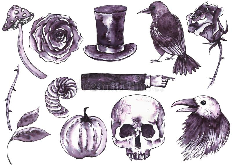 Reeks van waterverf de hand getrokken Halloween stock illustratie