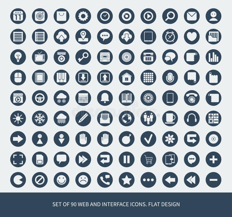 Reeks van Web 90 en mobiele pictogrammen. stock illustratie