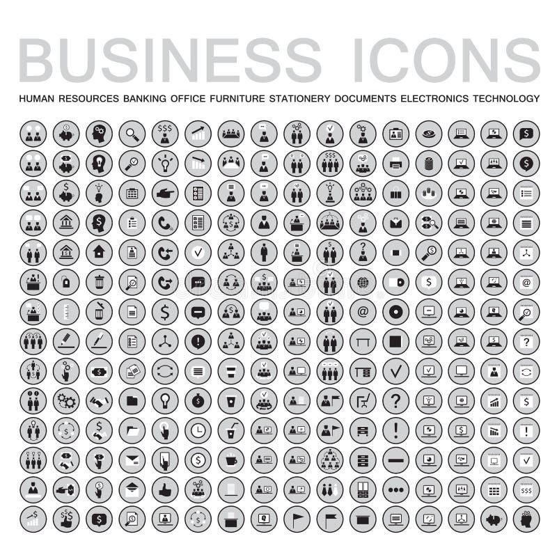 Reeks van 224 Webpictogrammen voor zaken, financiën, bureau, mededeling, personeel stock illustratie