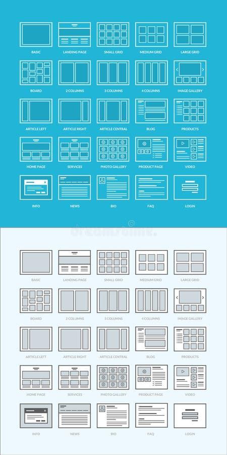 Reeks van website wireframes royalty-vrije illustratie