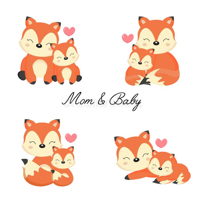 Reeks van weinig vos en moeder royalty-vrije stock foto's