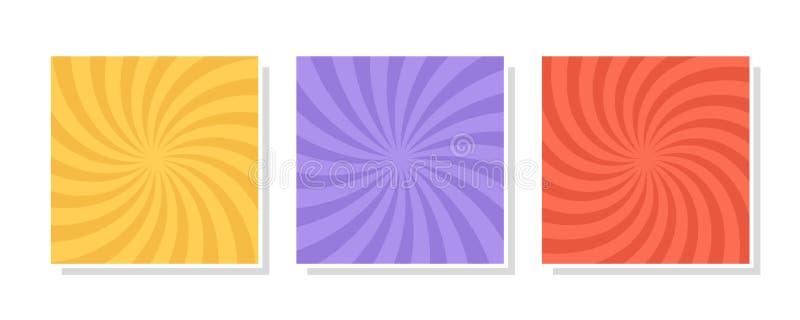 Reeks van werveling, draaikolkachtergronden Kleuren roterende spiraal royalty-vrije illustratie