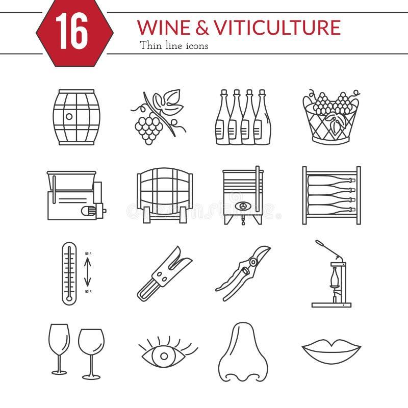 Reeks van wijnbereiding, wijn proevende pictogrammen royalty-vrije illustratie