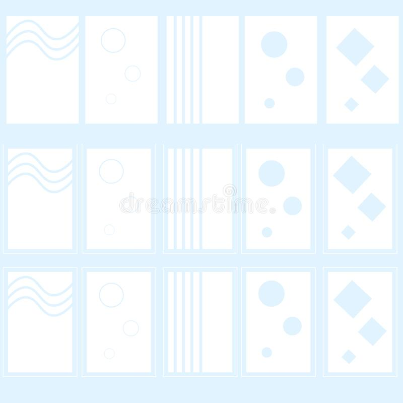 Reeks van wit abstract etiket of embleem voor drinkwaterfles stock afbeeldingen