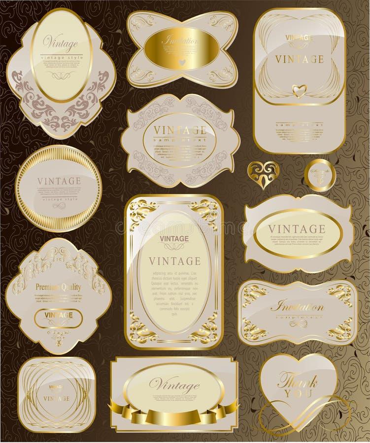 Reeks van wit en gouden lint stock illustratie