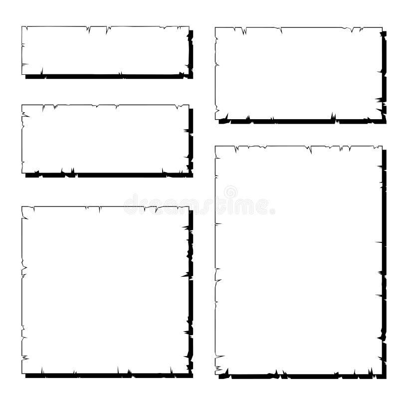 Reeks van wit gescheurd oud document frame met schaduw stock illustratie