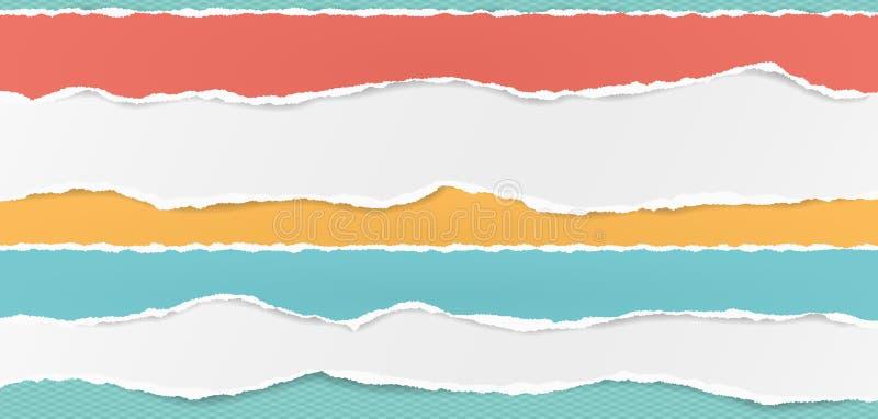 Reeks van witte en kleurrijke horizontale gescheurde document stroken, gescheurd notadocument voor tekst of bericht op geregeld t royalty-vrije illustratie