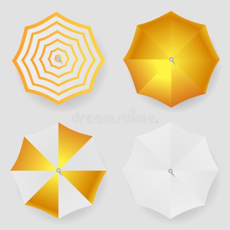 Reeks van witte gele gestreepte lege klassiek die om regenparaplu wordt geopend Hoogste meningsspot omhoog Vector vector illustratie