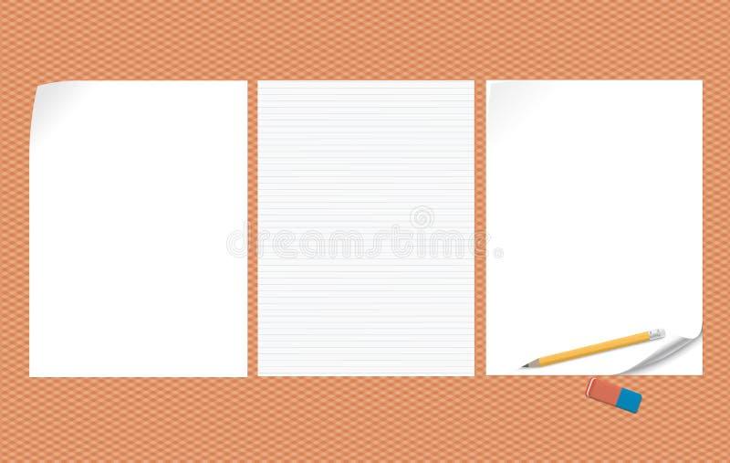 Reeks van witte lege en gevoerde nota, notitieboekjedocument met gekrulde hoeken voor tekst of reclamebericht op geregelde sinaas vector illustratie