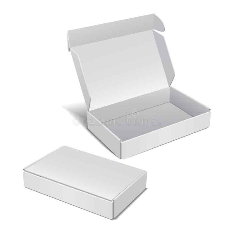 Reeks van Witte Realistische Kartondoos Vectorpakket voor Software, elektronisch apparaat en andere producten vector illustratie