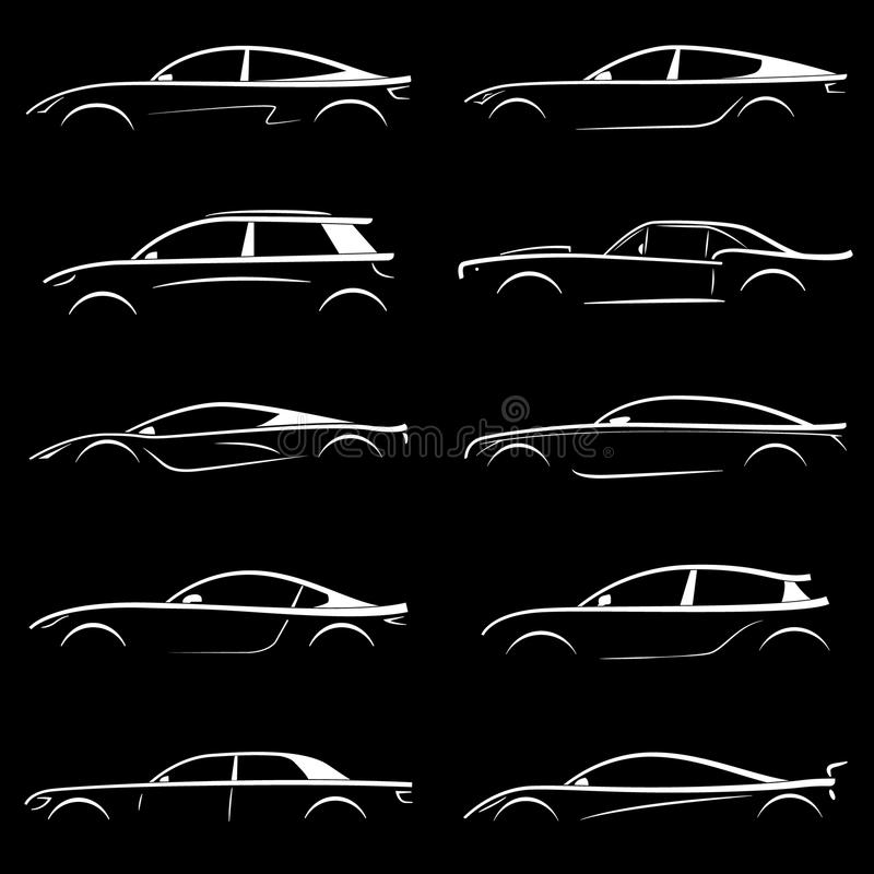 Reeks van witte silhouetauto op zwarte achtergrond vector illustratie