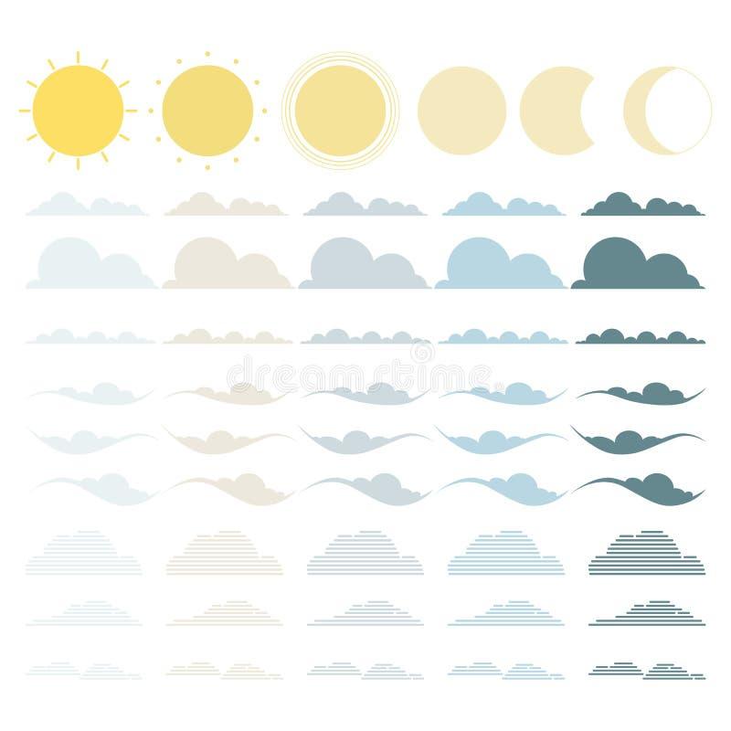 Reeks van wolk, zon en maan De inzameling van het weersymbool stock afbeelding