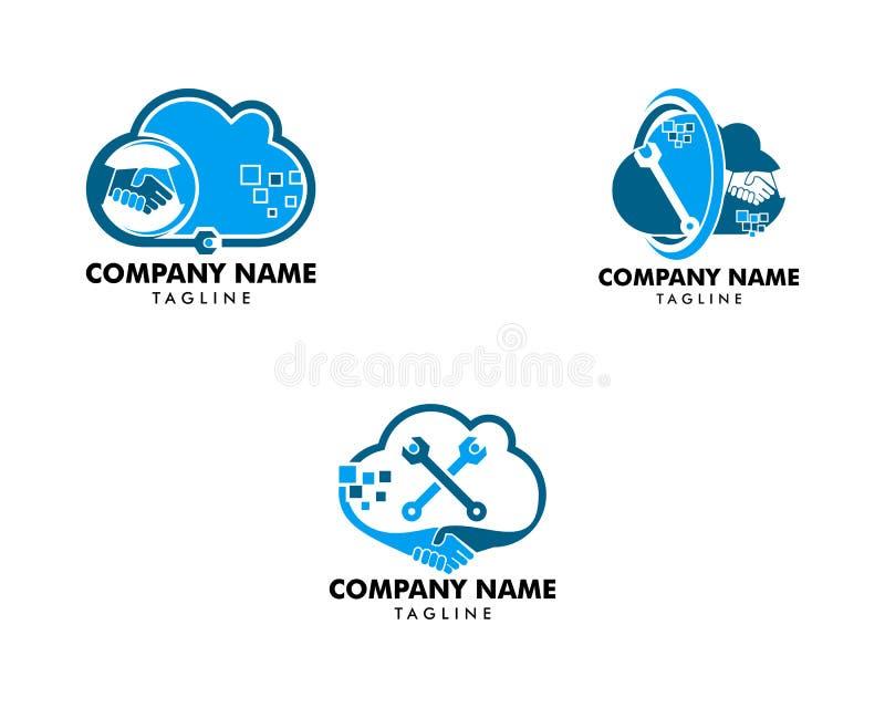 Reeks van Wolkenovereenkomst en Reparatie Logo Design Element vector illustratie