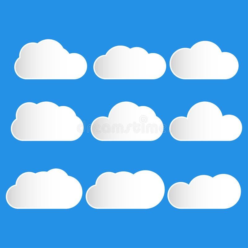 Reeks van wolkenpictogram in blauwe hemel vector illustratie