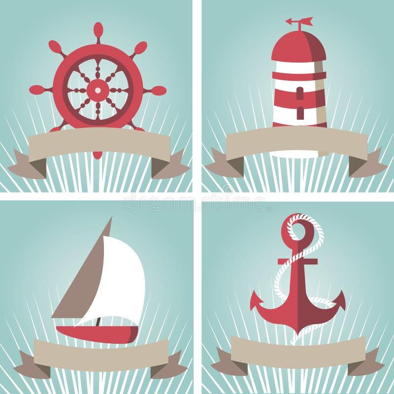 Reeks van zeegezicht met zeevaartelementen