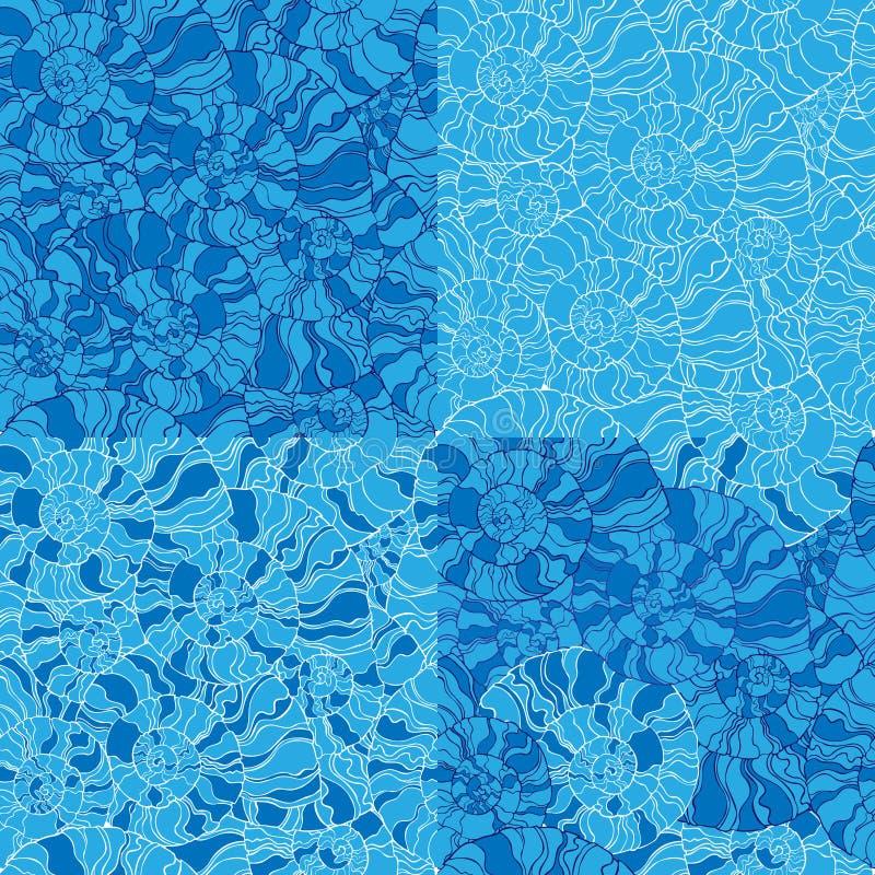 Reeks van zeeschelp naadloos patroon stock illustratie