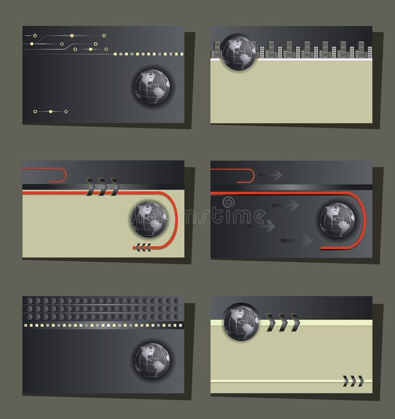 Reeks van zes adreskaartjes - moderne technologie stock illustratie