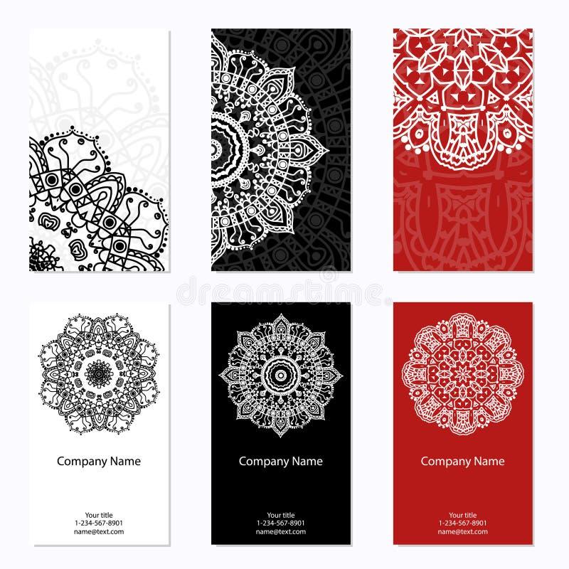 Reeks van zes adreskaartjes Uitstekend patroon in retro stijl met mandala Hand getrokken Islam, Arabisch, Indiër, kantpatroon vector illustratie