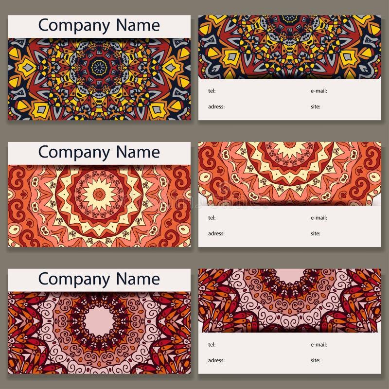 Reeks van zes adreskaartjes Uitstekend patroon in retro stijl met mandala Hand getrokken Islam, Arabisch, Indiër, kantpatroon royalty-vrije illustratie