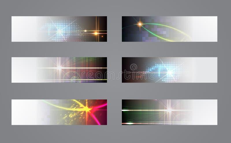 Download Reeks Van Zes Donkere Banners. Vector Illustratie - Illustratie bestaande uit helder, grunge: 29509283